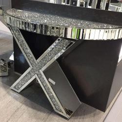 """Nouveau design moderne """" X """" écrasé de forme de diamant Table console en miroir"""