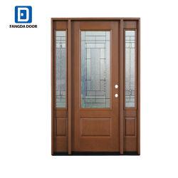 Fangdaのドアの職人装飾的なガラス左のInswingのマホガニーによって汚されるガラス繊維のPrehungの出入口