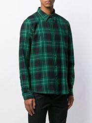 Les hommes en coton vert du vérifié Plaid Longsleeved Tee-shirt