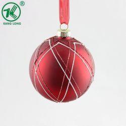 Décoration de Noël de peinture rouge de gros de bille de verre pendaison ornements à billes