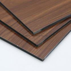 Textura de madera de la pared de la decoración del Panel Compuesto de Aluminio