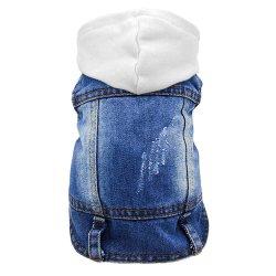 Jaqueta Jeans Retro Colar de lapela Estilo Dog cubra