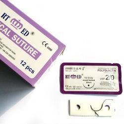 Suministros médicos Rtmed hilo de sutura quirúrgica absorbible con aguja Pgla