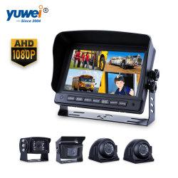 """4CH Quad Screen câmara HD Retrovisor com fio com Monitor de 7"""""""