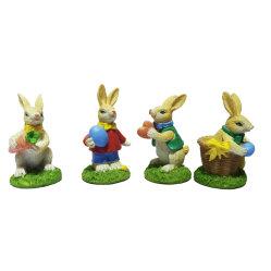 Frühling Ostern Bunny Figurine Harz Kaninchen & Farbe Eierkörbe 3 Ast Geschenk für Heimdekor
