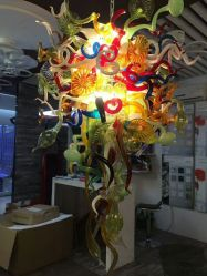 Цветные стекла люстра для проекта осветительной арматуры (WH-GB-07)