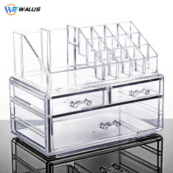 큰 투명한 아크릴 탁상용 저장 상자 화장대 립스틱 피부 관리 제품 저장 조직자 서랍 메이크업 상자