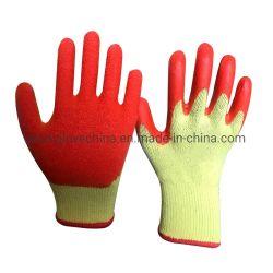 Heißer Verkaufs-Latex-Handschuh strickte Polyester-Arbeits-Handschuh-Baumwolzeile Latex beschichtete Arbeitshandschuhe/industrielle Hochleistungsgummisicherheits-Handschuhe