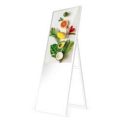جهاز محمول قياسي الوزن خفيف الوزن سطوع عالٍ شاشة الإعلان الرقمية ملصق LCD خارجي للمطاعم