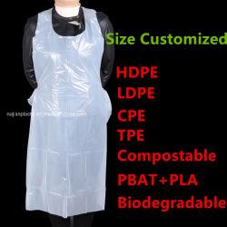 別のパッキングが付いている着色された使い捨て可能なHDPE/LDPE/CPE/Compostableのエプロン