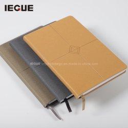 Relieve de lujo A5 tamaño B5 PU cubierta de cuero Empresa Logotipo personalizado oficial obligado diario portátil