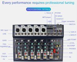 Sept canaux numérique USB Bluetooth de mélangeur de karaoké live Studio Console de mixage audio Carte son du microphone pour DJ F7