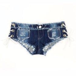 Frauen-reizvolle Jeans-Kurzschlüsse geknoteter Band Niedrig-Taille kurze Hosen-reizvoller Nachtklub modernes reizvolles kurzes Clubwear Esg14026