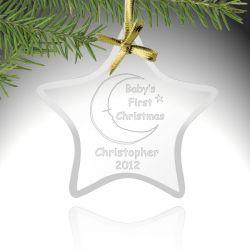 Estrela personalizada ornamentos de Natal de vidro para Decoração de Natal (TM-G127)