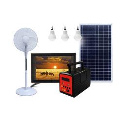 Портативный домашних солнечных светодиодный индикатор питания ламп освещения комплекты с FM радио системы запуска телевизора электровентилятора системы охлаждения двигателя постоянного тока