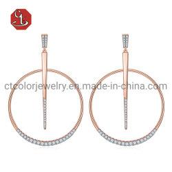 Prata ou Bronze jóias de metal acessórios rodada CZ Brinco Jóias