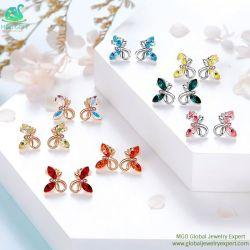 MGO de Globale Oorring van de Bloem van het Kristal van de Fabriek van de Juwelen van de Gem In het groot Rode Blauwe Mooie Charmante