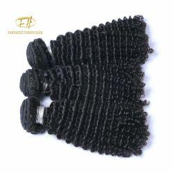 9Um grau de Cor Natural Virgem de cabelo humano na trama com onda profunda