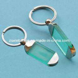 Kundenspezifischer transparenter grüner Plastikschlüsselring mit Legierung (Ele-K052)