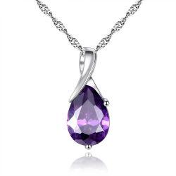 Chute de l'eau de Charme élégant collier pendentif pour les femmes de l'Engagement de mariage de luxe Zircon Cristal violet Bijoux Cadeaux Saint Valentin
