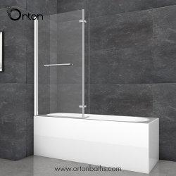 Banho de chuveiro em forma de L Banheira 1700mm do lado esquerdo da tela com painel frontal e rampa de injecção