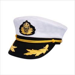 Nieuwe Stijl 100%Cotton Kapitein Hat Party Yacht Officer Hoed, Witte Marine Eenvormige Kapitein Cap