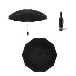 Neue Sicherheits-Reflektierende LED-Taschenlampe Business 3 Falz Regenschirm Reverse Automatischer Regenschirm