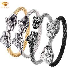 Edelstahl-Drahtseil-Leopard-Kopf-Armband Ssbg2722 der europäischen und amerikanischen Weinlese-Edelstahl-Form-Leopard-Kopf-Armband-Männer