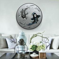 실내 현대 훈장 수공예 벽 예술을%s Koi 물고기 3D 원형 금속 유화