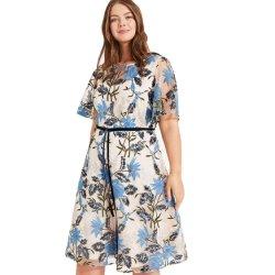 Novo tamanho Plus Lantejoulas Bordados Lace vestidos casual de moda para mulher