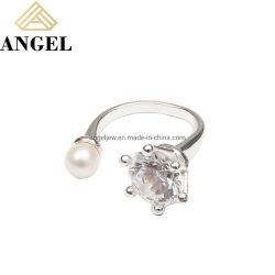 925 Sterling Silber Kreativ Design Ring mit CZ und Perle Mode Maßgeschneiderte Schmuck