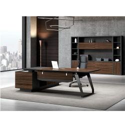 L-Shape mélamine moderne en bois Meubles de bureau Directeur exécutif Table avec pieds métalliques
