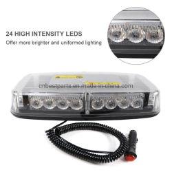 Ámbar de 24 LED blanco de baliza de aviso de emergencia del vehículo en la azotea de barra de luces estroboscópicas