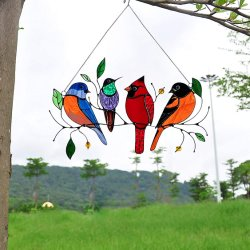 طحين متعدد الألوان على لوحة نافذة نافذة زجاجية ملونة عالية السلك، نافذة زجاجية صينية معلقة، زينة من سلسلة الطيور بيندانت ديكور منزل طحين