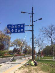 스틸 라이트 폴 솔라 스트리트 조명 포스트 LED 램프 60W 120W의 통합형 야외 정원