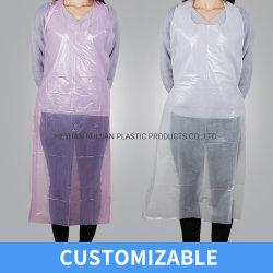 Avental de plástico PE descartável, resistente a rasgões, impermeável, embalagem em sacos