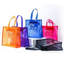 حقيبة بلاستيكية للشاطئ واسعة من البلاستيك شفاف 2020 الموضة حقيبة تسوق مع شعار خاص