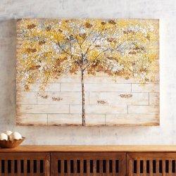 Многослойно обшитых планками из дерева празднование деревьев, 100% Handpainted 48x36 дюймов