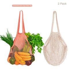 Rótulo Personalizado orgânica de algodão de Cor Natural Tirar o saco da rede de malha de String
