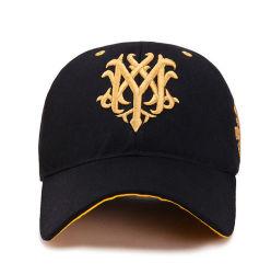 도매 최신유행 까만 수를 놓은 스포츠 모자 옥외 야구 모자