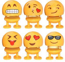 أكسسوارات السيارات Smiley Spring Doll Cute emoji Bobble Head Dolls زينة