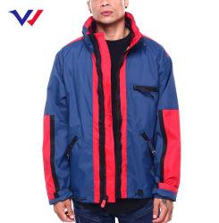 カスタム印刷のジャケットのコートメンズ100%ナイロン屋外はウインドブレイカートラックプリントジャケットのファスナーを締める