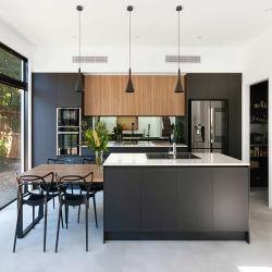 Accueil Hôtel intérieur cuisine en bois Cabinetry Design importé moderne Lacquer Armoires de cuisine sans cadre à finition mate noire