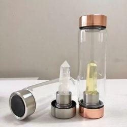 2020 Zoll Eco freundliche Wasser-Flasche mit Kristall-natürlichem heilendem Mineraledelstein innerhalb des Splitters/der Rosen-Goldkappe