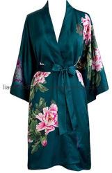 Женские Charmeuse Халат покроя кимоно с цветочным рисунком мягких напечатано атласный шелк банный халат для летнего