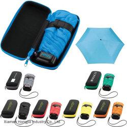 Logotipo da moda Mini Pocket EVA caso cinco viagens de dobragem Umbrella