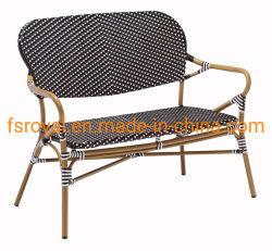 Restaurante de estilo francés de mobiliario de jardín Bistro Vintage doble exterior plazas sofá de bambú del reposabrazos