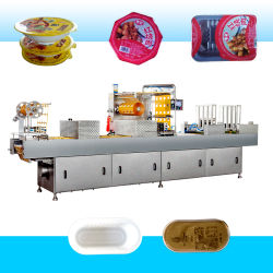 自動皿またはコップの真空かマップまたは窒素またはガスのスープまたはジュースを持つ食糧のための満ちるパッキングまたはシーリング機械か肉または魚またはフルーツまたは野菜