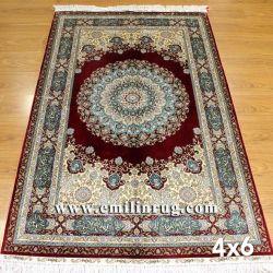 100 % pure soie médaillon persan tapis orientaux de conception