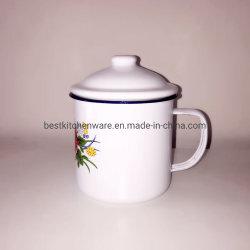 Best Selling Enamelware de alta qualidade esmalte Café caneca com tampa